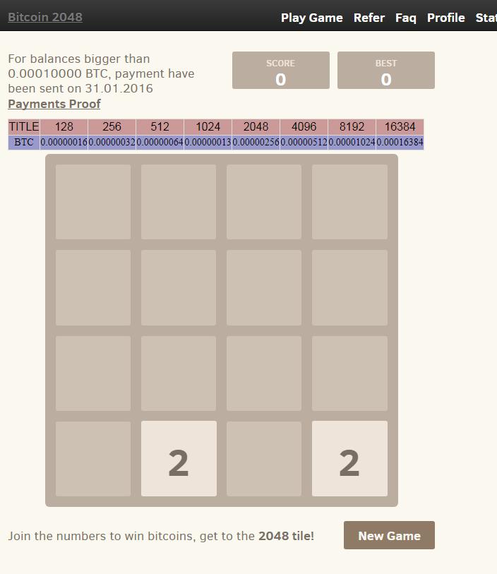 игра 2048 на биткоины
