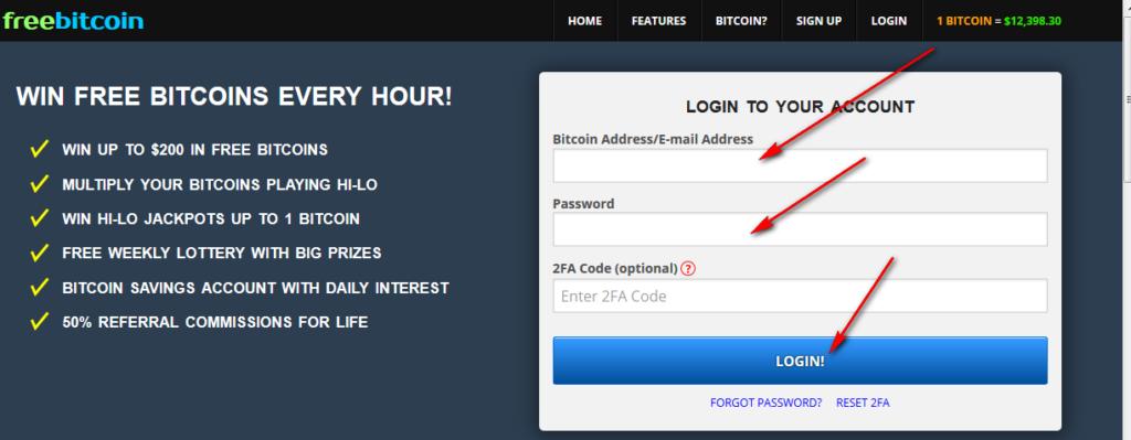 freebitcoin вход