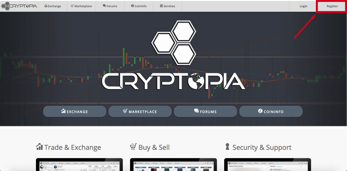 кнопка регистрации криптопии
