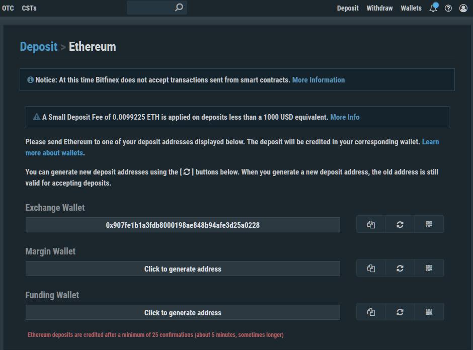Битфинекс Депозит Ethereum Страница New