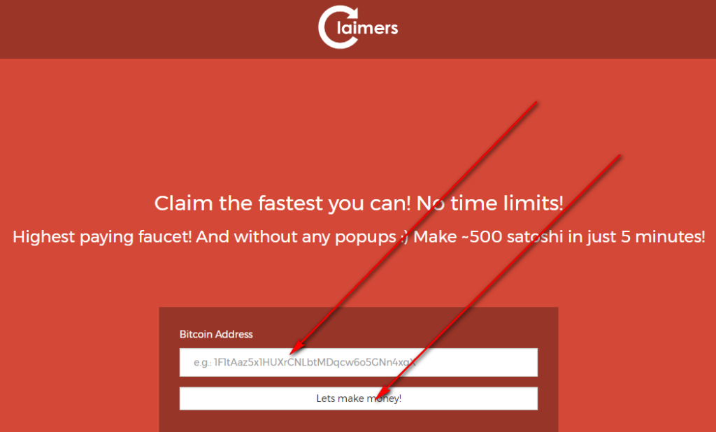 как зарегистрироваться на кране claimers