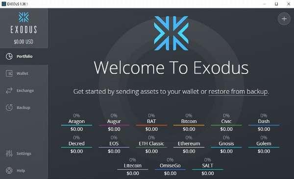 Exodus wallet интерфейс